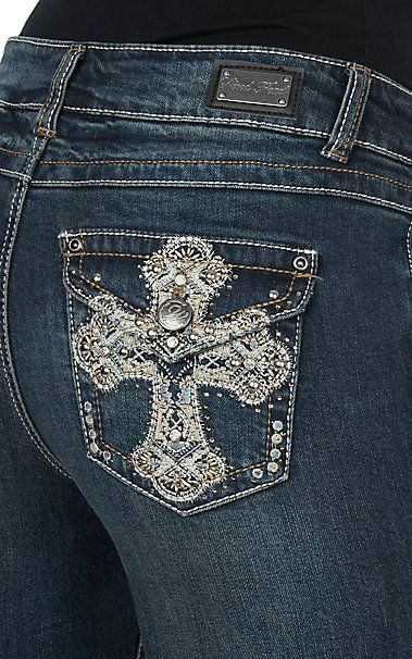 Wired Heart Women's Stud Crystal Cross Flap Pocket Boot Cut Jeans | Cavender's