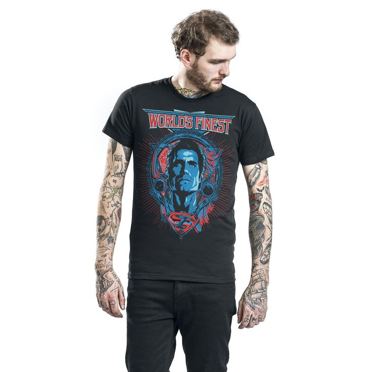 "Classica T-Shirt uomo nera ""Superman - World's Finest"" di Batman v Superman."