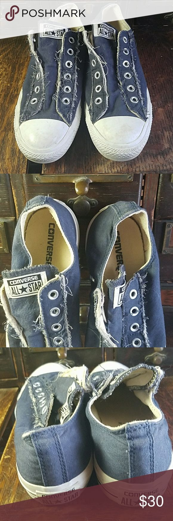 Blue converse slip on elastic shoe womens sz9 Navy blue (more faded not deep) converse slip on elastic womens as 9.  Scuffs on rubber toe area.  Worn a handful of times.  Too big for me Converse Shoes
