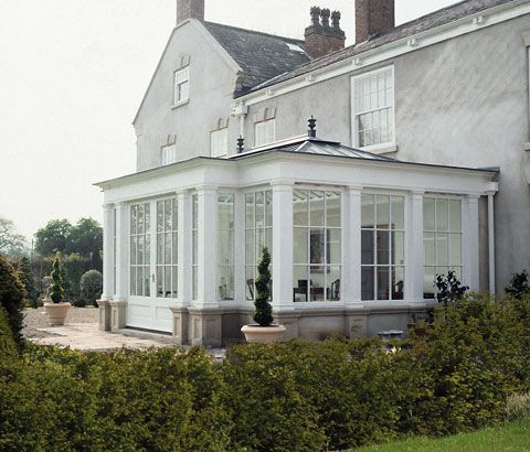 The careful combination of traditional build and glazing of an orangery can create an interesting and more substantial effect