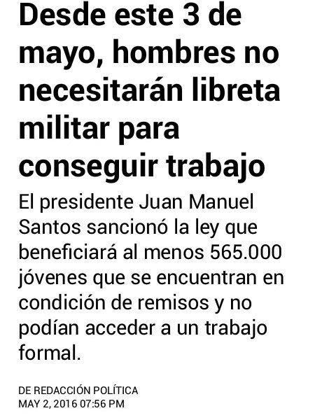 @elespectador publicó Ya no es requisito tener libreta militar para trabajar. #Jovenes #Trabajo #Colombia #LibretaMilitar by didiercatao09