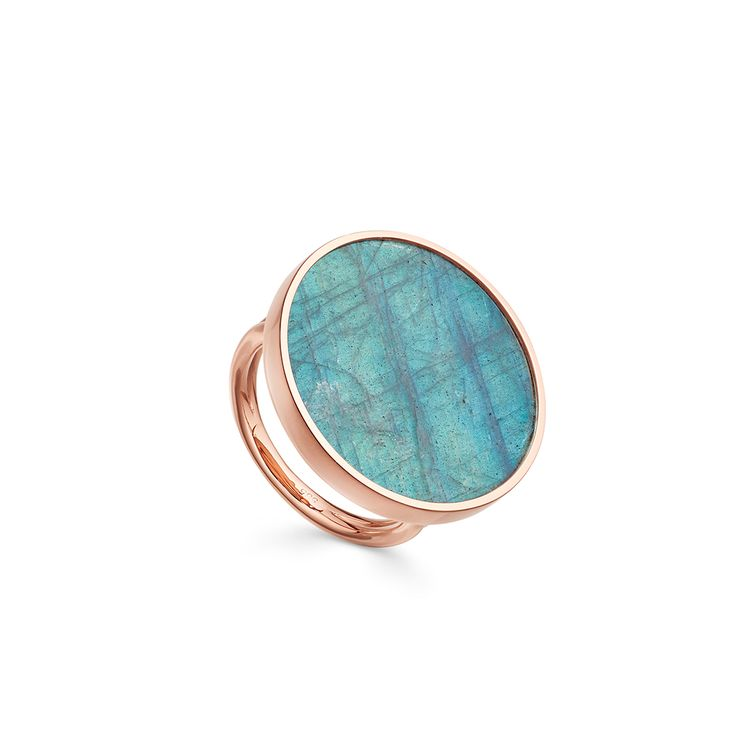 Labradorite Jupiter Ring.  Cocktail ring with a slice of labradorite in rose gold with a diamond set in the band.
