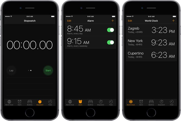 iOS 10 Clock Dark Mode iPhone screenshot 001