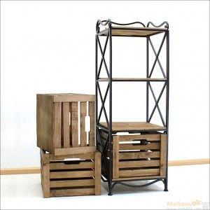 Этажерка ES-103 (3 ящика) в стиле лофт. Металлический каркас и садовые ящики украсят прихожую, кухню или спальню