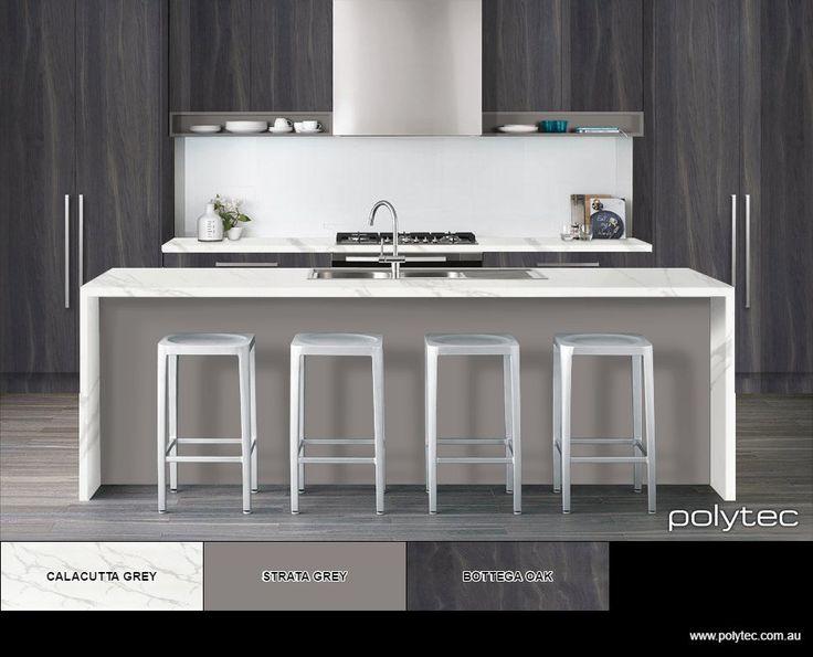 New fabulous kitchen colours from polytec. Doors in Bottega Oak Woodmatt, benchtop Calacutta Grey Matera