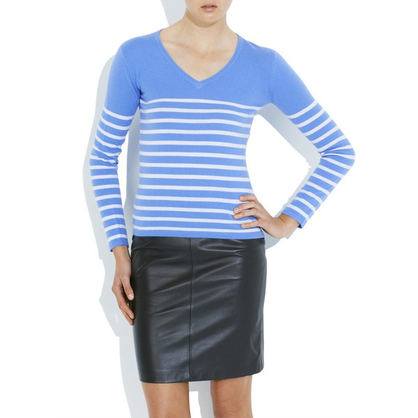Sorrento Sweater Blue/Stripes via Polyvore