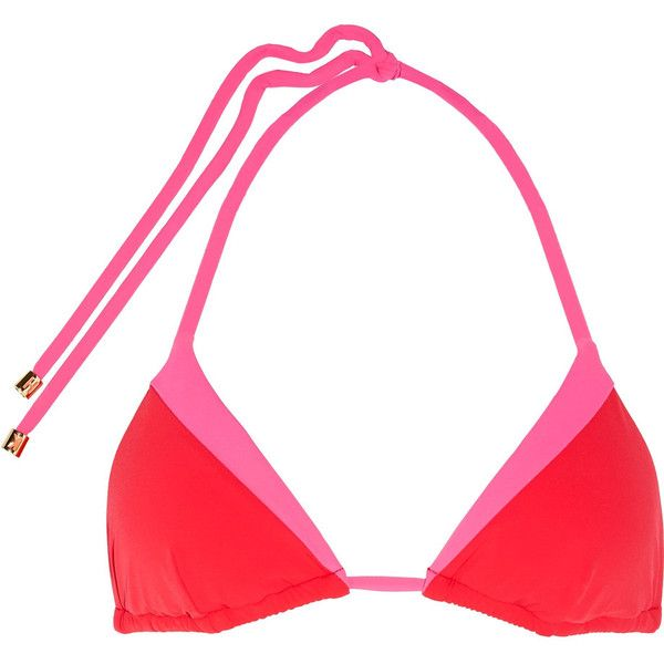 Heidi Klum Swim - Savannah Sunset Color-block Triangle Bikini Top ($40) ❤ liked on Polyvore featuring swimwear, bikinis, bikini tops, pink, colorblock bikini, triangle swimwear, color block bikini, pink bikini bottoms and tie bottom bikini