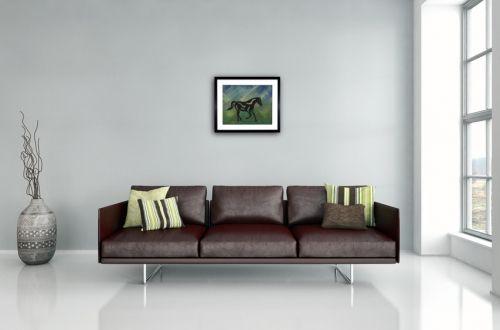 """Gerahmter Kunstdruck """"Heinrich - Abstraktes Pferd"""" (2016) von Manuel Süess im Wohnzimmer   Mehr: http://art-by-manuel.com/de/gerahmter-kunstdruck-heinrich-abstraktes-pferd-2016/"""