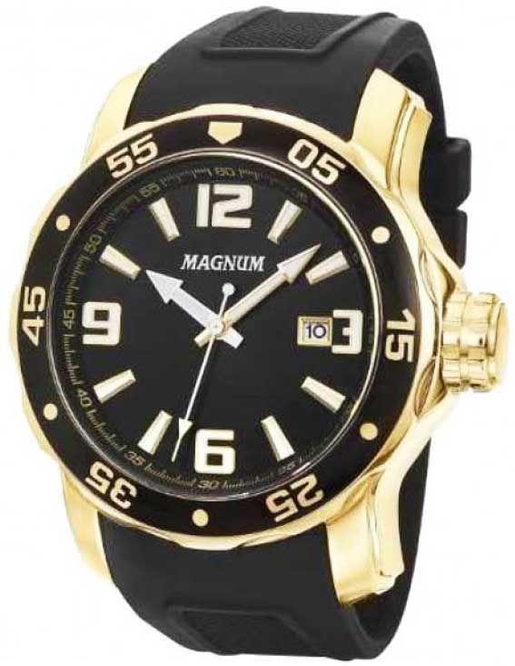 #Relógio de pulso masculino da MagnumMA31908U #RelógioMasculino dourado com pulseira de borracha
