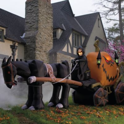 Inflatable 15' Halloween Grim Reaper & Pumpkin Carriage: http://www.grandinroad.com/inflatable-15-halloween-grim-reaper-26-pumpkin-carriage/19368?defattrib===0 The Inflatable Halloween Grim Reaper & Pumpkin Carriage uses a heavy-duty fan for easy set up. Use this detailed, inflatable outdoor Halloween decoration to frighten the neighborhood in just minutes. (October 2012)