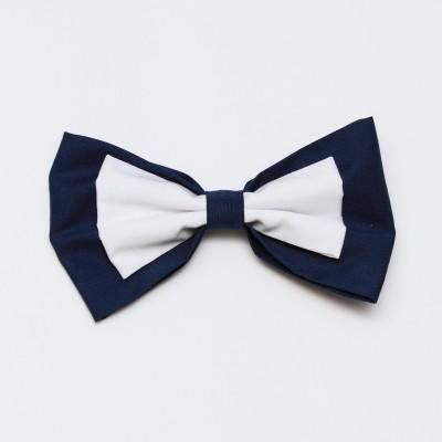 Navy and White Bow Large