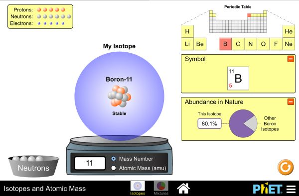 Are all atoms of an element the same? How can you tell one isotope from another? Use the sim to learn about isotopes and how abundance relates to the average atomic mass of an element.
