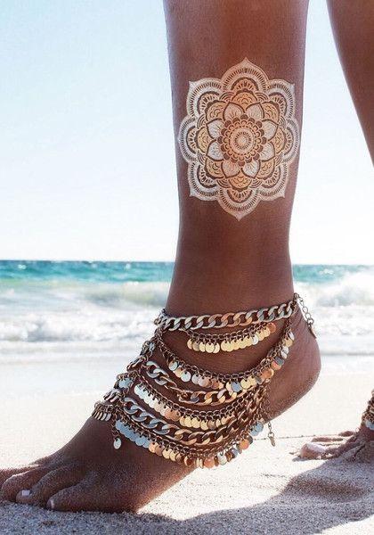Nr. 1 Premium Temporäre Tattoos || GOLD, SILBER, SCHWARZ || Metallic Schmuck Tattoos ||                                                                                                                                                                                 Mehr
