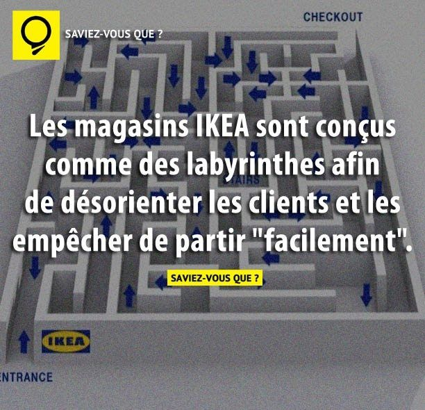 Les magasins IKEA sont conçus comme des labyrinthes afin de désorienter les clients et les empêcher de partir « facilement ». | Saviez Vous Que?