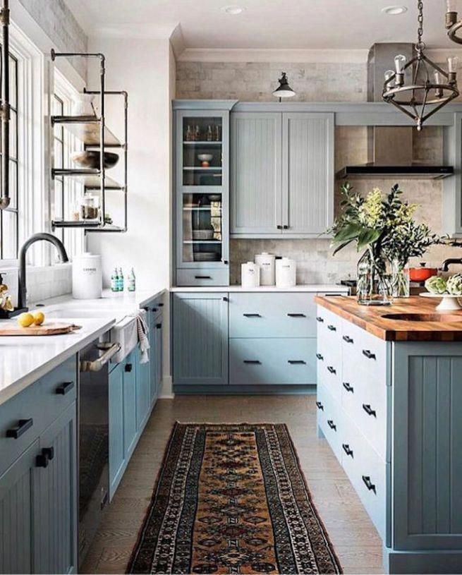 Colorful Farmhouse Kitchen With Robins Egg Blue Cabinets And Butcher Block Countertop Homeremodeling Interior Design Kitchen Kitchen Interior Kitchen Design