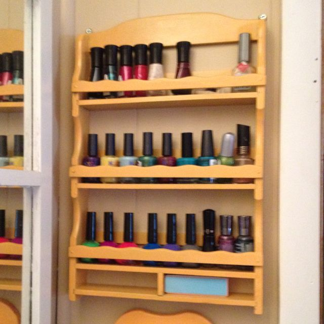 Re Purposed Spice Rack Diy Nail Polish Rack Diy Nail