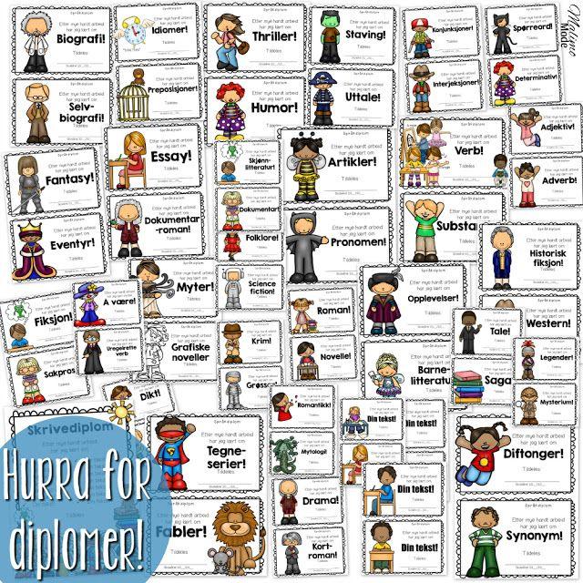 Motiverende arbeid med sjanger- og grammatikklære! Diplomer er fantastiske å bruke i klasserommet. Les mer om hvordan jeg bruker dem her!