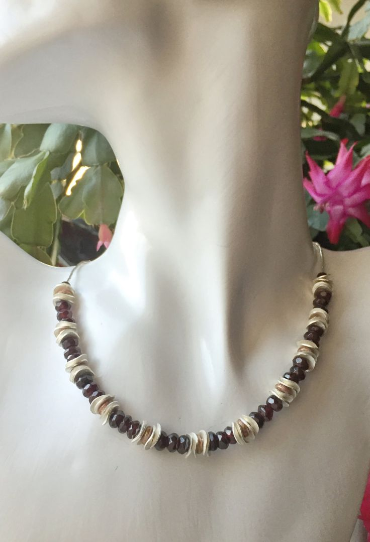 Ladies necklace, garnet & sterling silver, 16 - 17 inch by ShereesTrinketBox on Etsy