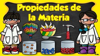 The following is a a PowerPoint presentation in SPANISH that focuses on properties of matter. The following presentation...-Contains 36 Slides!-Properties defined in presentation include, volume, mass, relative density, magnetism, conductors, insulators, liquid, gas, solid, temperature and solubility-Contains Notes page to maintain student engagement (To be used during PowerPoint Presentation) -Contains colorful visuals to maintain student interest-The preview is in PDF Format but the actual…