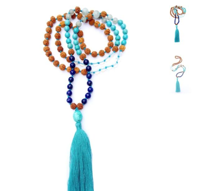 """Hey Moon MamaThis sublime """"BLUE MOON"""" mala prayer bead necklace is handmade and hand knotted with loving intention from 108 sacred Rudraksha seeds and healing gemstones of Lapis Lazuli, Turquoise, Amazonite and Moonstone with a Tibetan Turquoise Guru bead and turquoise cotton tassel. <>$90<> ~heartmala.com~"""