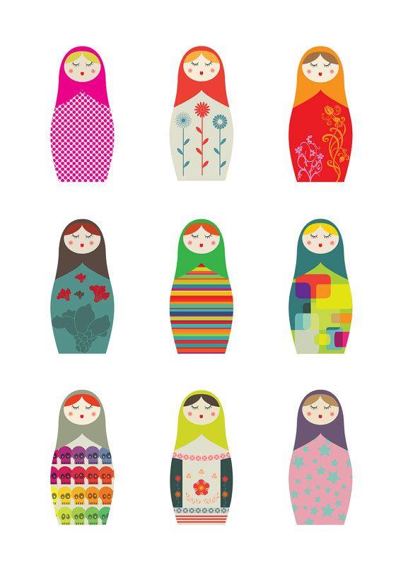 A4 Matryoshka Russian Dolls  giclee print  fine art by malobi