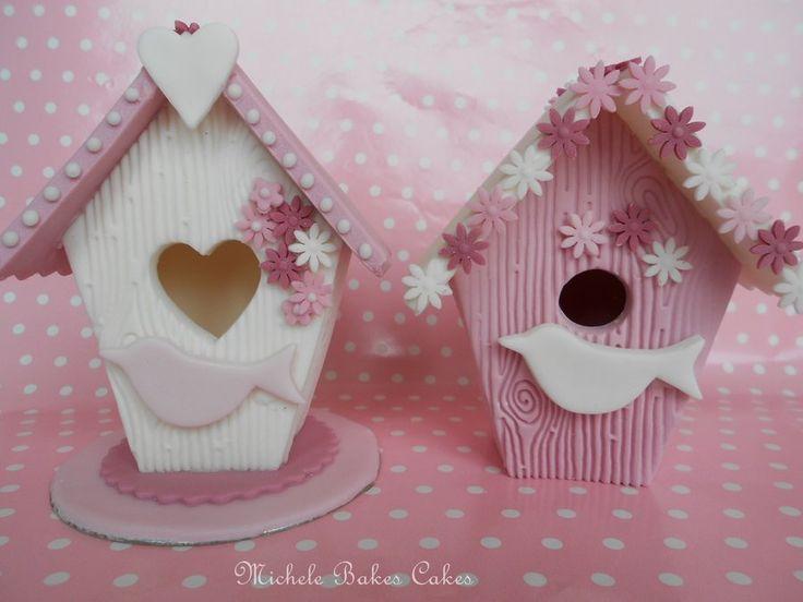 Sugarpaste birdhouse cake toppers