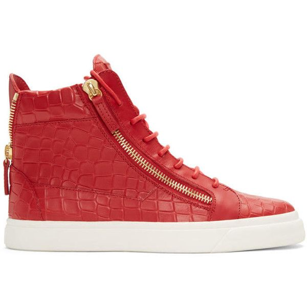 Giuseppe Zanotti Red Croc-Embossed London High-Top Sneakers (5 380 SEK) ❤ liked on Polyvore featuring men's fashion, men's shoes, men's sneakers, red, mens red high top sneakers, giuseppe zanotti mens shoes, mens high top shoes, mens red shoes and crocs mens shoes