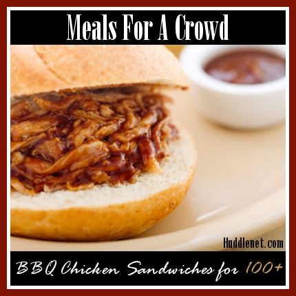 Recipe for BBQ Chicken Sandwiches to feed 100+ people. Double, triple or cut recipe in half to feed more or less people.