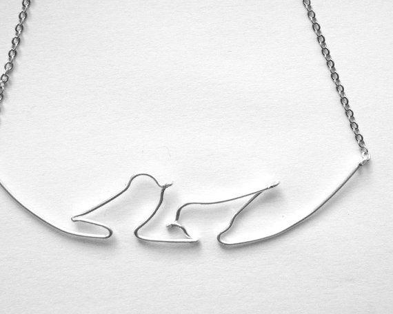 Birds on Wire Necklace Silver Wire Work