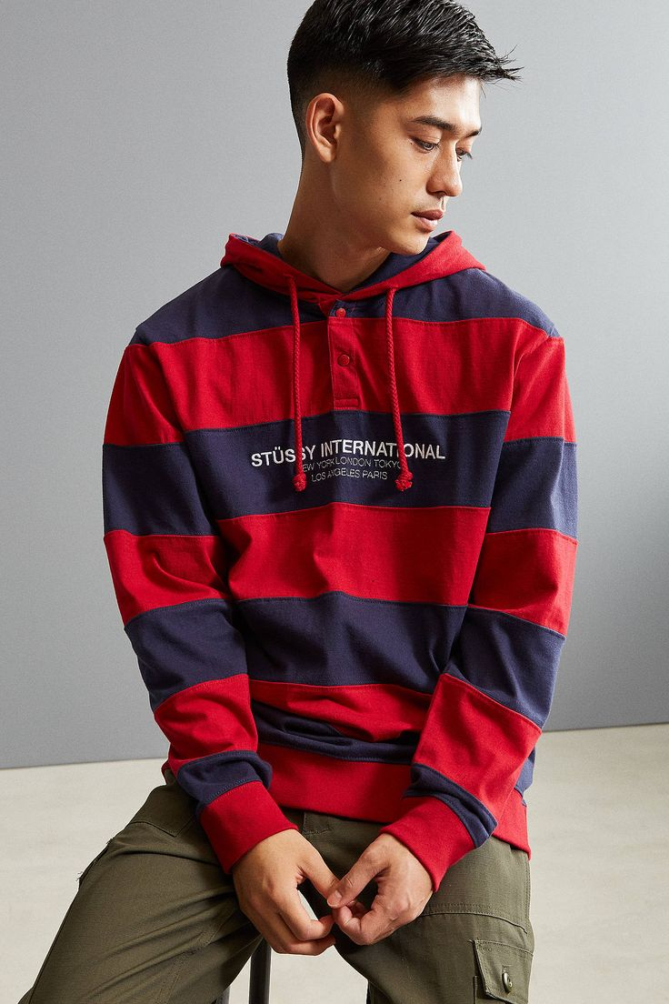 Shop Stussy Stripe Embroidered Hooded Rugby Shirt at Urban Outfitters today. We carry all the latest styles, colors and brands for you to choose from right here.