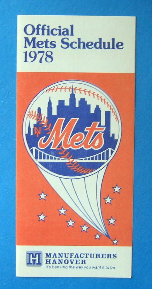 1978 New York Mets MLB Baseball Schedule - Manufacturers Hanover