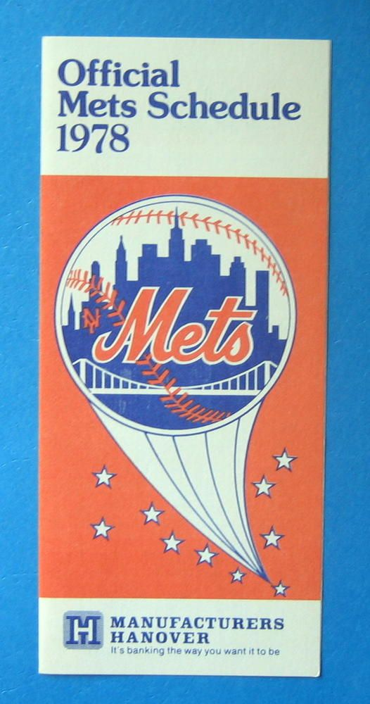 1978 New York Mets MLB Baseball Schedule - Manufacturers Hanover