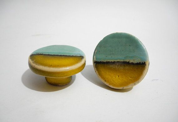Small Drawer Knobs Round Pull Handles Handmade Ceramics Designer Knobs in Turquoise and Yellow  Desert Landscape Tired of your cupboards/cabinet?