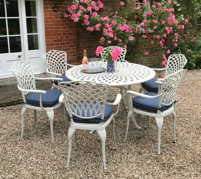 Ashbury Round Set 6 Carver Chairs With Arms Oyster White Outside Edge Metal Garden Furniture In 2020 Metal Garden Furniture Garden Chairs Metal Furniture Design Modern