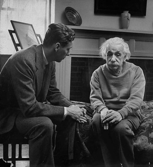LIFE magazine: (L-R) Cord Meyer Jr., president of United World Federalists, Inc., visiting physicist Albert Einstein at his home to discuss Russia's attitude toward world government.