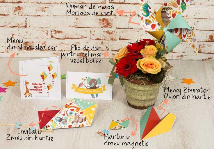 Colorful Kite - Ideal pentru petrecerile de botez organizate in aer liber. Este un pachet inspirat de aerul libertatii si de fericirea din al noualea cer. Fiecare dintre elementele acestui set - invitatia de botez, numerele de masa, place cardurile, meniurile, mesajele pentru bebelus si marturiile - este o pata de culoare usoara ca aerul si ofera evenimentului special din viata bebelusului vostru o nota de veselie relaxare.