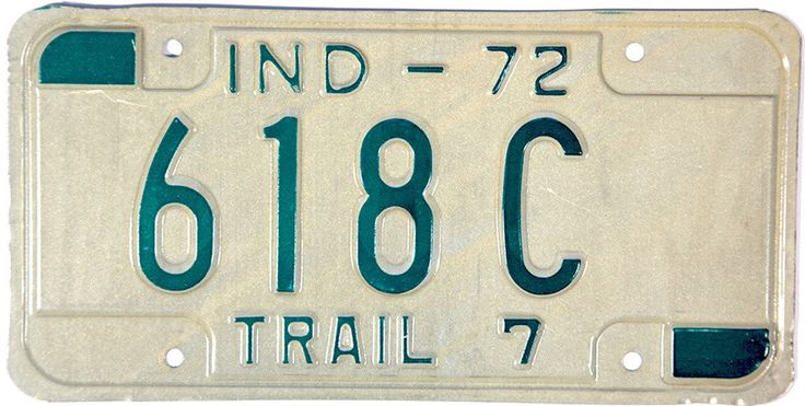 1972 Indiana Semi Trailer License Plate