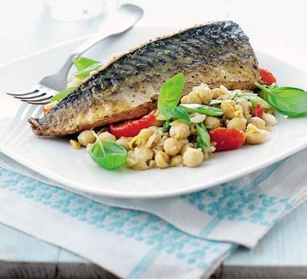 Basil & lemon chickpeas with mackerel recipe - Recipes - BBC Good Food