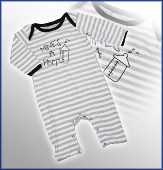 UK Designer Brand 'ROCK A BYE BABY' Baby Boys Footless Striped Sleepsuit with Print Detail 'MINE'S A PINT' on the Front. $15 http://www.kidsclothingrack.com.au/#!product/prd1/2164518515/'mine's-a-pint'-striped-footless-sleepsuit