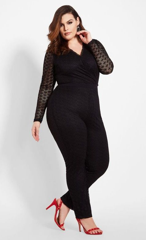 d0baa599810 Black Lace Surplice Top Black Jumpsuit Plus Size - An all-in-one elegant  look