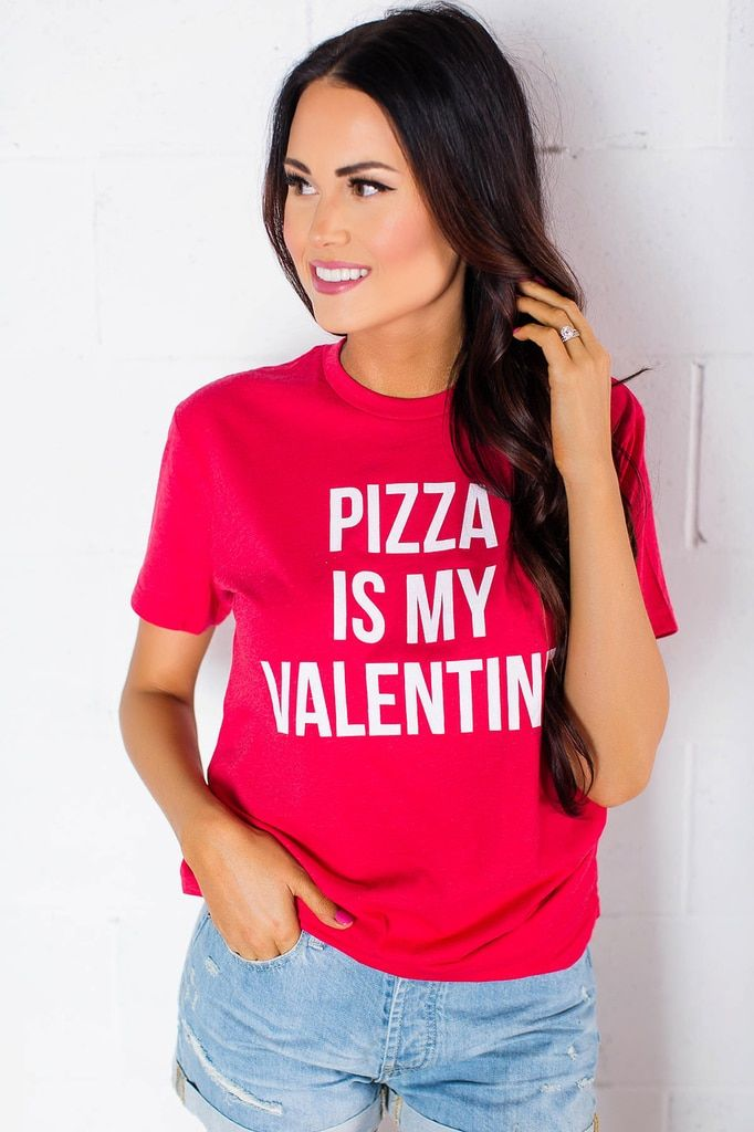 "Red ""Pizza Is My Valentine"" Tee"