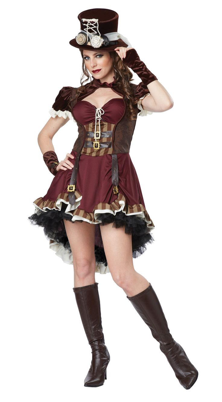 Steampunk is many things: a fashion statement, a literary genre, an attitude. And this Adult Steampunk Lady Costume captures that attitude in a fun, flirty way. Add buckled or laced Victorian-style bo