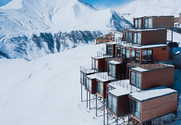Mountain-Inspired Hotel Built From Shipping Containers 2200 Meters Above Sea Level In Georgia