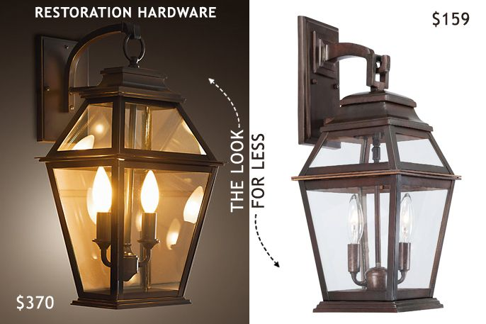 look for less - Restoration Hardware cambridge bronze outdoor lantern sconce