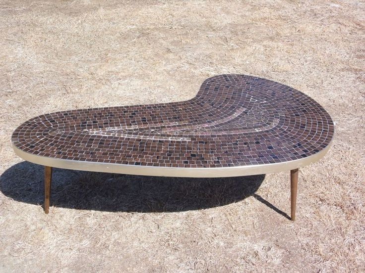 Vintage Mid Century Modern Atomic Kidney Shape Mosaic Tile Coffee Table