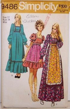 These are examples of granny dresses popular in the 1970s. This style of dress is somewhat reminiscent of earlier historical periods, but cut more simply and with elasticized necks, sleeves, and waists.