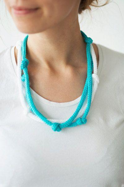 Eco-friendly knitted necklace knit jewellery blue by Strickzeit