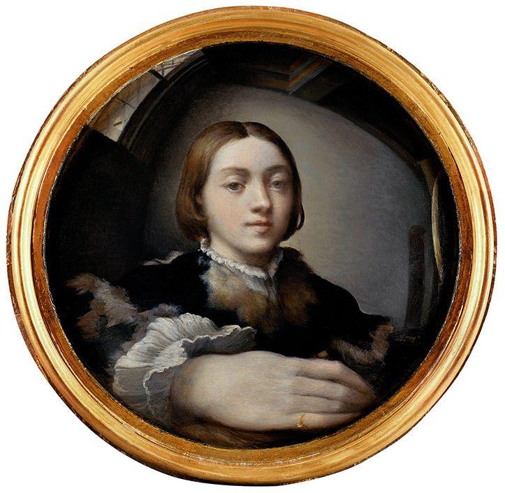 """Parmigianino – """"Autorretrato en un espejo convexo"""" (h. 1524, óleo sobre tabla, diámetro 24 cm, Kunsthistorisches Museum, Viena)  Este chavalín es Girolamo Francesco Maria Mazzola, más conocido como """"il Parmigianino"""", apodo que le pusieron por ser un..."""