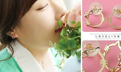 Earrings 14k Solid gold Baby Cat Kitty (Color: Yellow Gold) 1 Pair Made in Korea