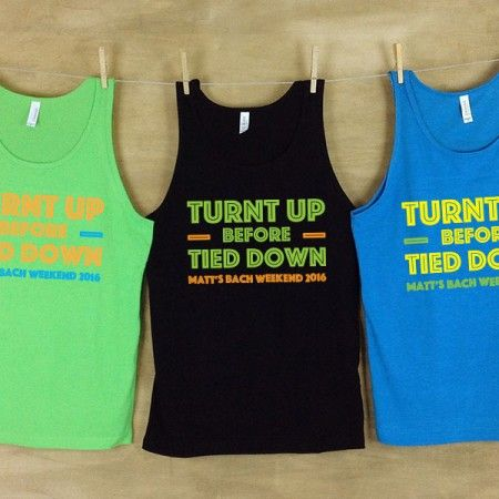 Turnt Up Before Tied Down Personalized Bachelor Beach Tank